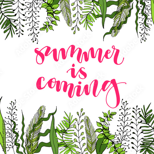 Summer Is Coming   Handwritten Brush Lettering Calligraphy Phrase. Great  For Poster, Banner,
