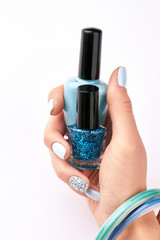 Fototapete - Bottle of nail polishes. Trendy accessories.