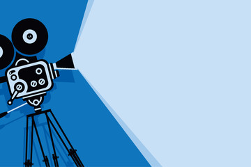 Vector blue background with lighting old fashioned movie camera on the tripod. Can used for banner, poster, web page, background