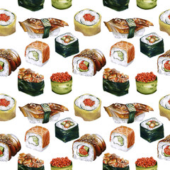 Illustration seamless pattern with sushi. Markers sketch for print. Markers art. Sketch Sushi pattern for textile, print, card, postcard. Japanese food. Cafe menu