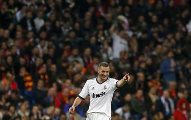 Real Madrid's Karim Benzema celebrates his goal against Galatasaray