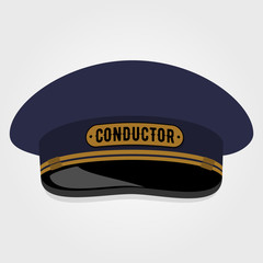 Train conductor's cap. Flat style design