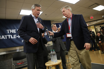 Graham introduces Bush at a town hall meeting with employees at FN America gun manufacturers in Columbia, South Carolina