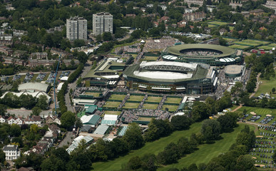 An aerial view shows the Wimbledon tennis championships in London