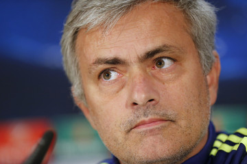 Chelsea coach Mourinho addresses the media before their Champions League Group G soccer match against Schalke 04 in Duesseldorf