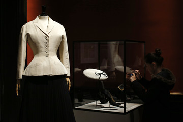 """A vintage dress by designer Christian Dior is presented in the exhibition """"Les Annees 50, La mode en France"""" at the Palais Galliera  fashion museum in Paris"""