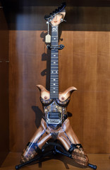 """Electric guitar named """"Stripper"""" owned by Randy piper of W.A.S.P  is pictured on display at Julien's Auctions for the upcoming """"Icons & Idols: Rock n Roll"""" auction in Beverly Hills"""