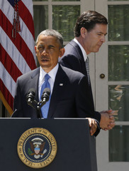 U.S. President Obama announces that Comey will be his choice to replace Mueller as the next FBI director during a Rose Garden announcement at the White House in Washington