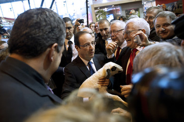 Francois Hollande, Socialist Party candidate for the 2012 French presidential election, visits the 49th Paris International Farm Show in Paris