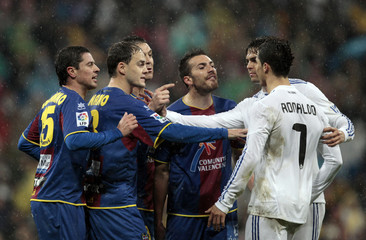 Levante's players argue with Real Madrid's Ronaldo during their Spanish first division soccer match in Madrid