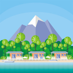 Beach cabanas are surrounded by tropical plants. Beautiful sea landscape. Vector background.