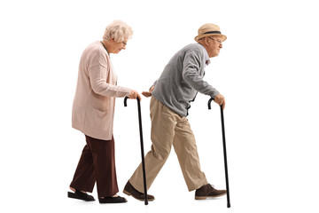 Elderly man and an elderly woman with canes walking