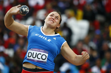 Chile's Natalia Duco competes in the women's shot put final at London 2012 Olympic Games
