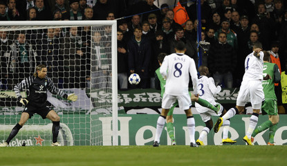 Tottenham Hotspur's Younes Kaboul scores a goal against Werder Bremen during their Champions League soccer match at White Hart Lane in London