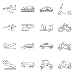 Transport and travel icon set simple flat vector illustration