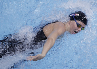 Steffen of Germany competes in women's 100m freestyle qualifying event at German swimming championships in Berlin