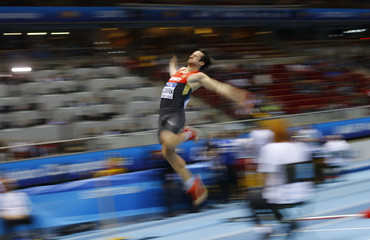 Germany's Kazmirek competes in the long jump event during the men's heptathlon at world indoor athletics championships in Sopot