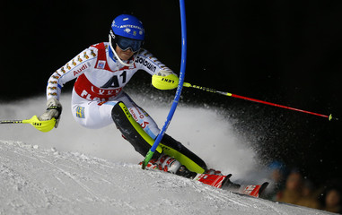 Hansdotter from Sweden clears a gate during the first run of the Alpine Skiing World Cup women's Slalom race in Flachau