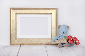 Stock photography golden picture frame cute blue bear holding rose flower mock up for text message