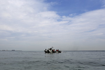 A Panama navy police boat guards the Pacific coast of Panama City, during an organized maritime patrol with the media