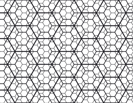 Geometry line hexagonal seamless pattern for surface design, fabric, wrapping paper. Modern abstract repeatable motif .
