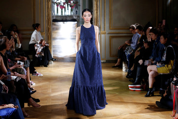 A model presents a creation by French designer Pascal Millet as part of his Spring/Summer 2017 women's ready-to-wear collection during Fashion Week in Paris