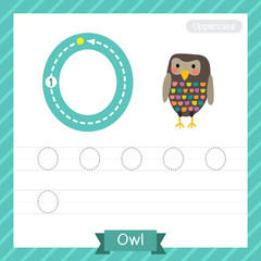 Letter O uppercase tracing practice worksheet with owl for kids learning to write. Vector Illustration.