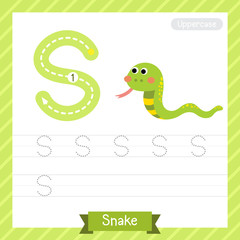 Letter S uppercase tracing practice worksheet with snake for kids learning to write. Vector Illustration.