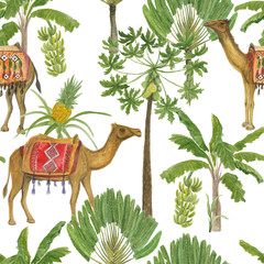 Watercolor painting Seamless pattern with camel, palm tree decorated Vintage colorful hand drawn illustration