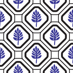 Geometric mediterranean rhombus with leaves seamless tile pattern.