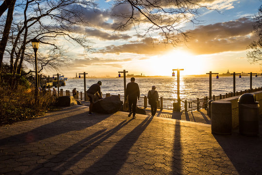 Stunning sunset in South Cove Park along the waterfront New York City