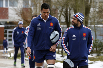 France's rugby players Sebastien Vahaamahina and Yoann Huget attend a training session at the Rugby Union National Centre in Marcoussis