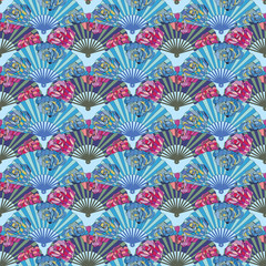 Seamless pattern with colorful Oriental fan decorated with roses flowers
