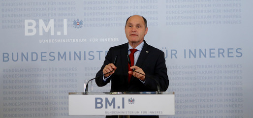 Austrian Interior Minister Sobotka addresses a news conference in Vienna