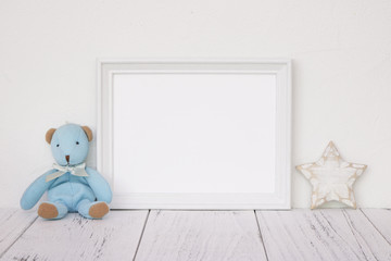 Stock photography white frame vintage painted wood table cute blue bear star retro craft