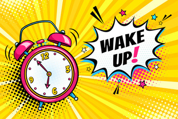 Background with comic alarm clock ringing and expression speech bubble with wake up text. Vector bright dynamic cartoon illustration in retro pop art style on halftone background. Fotobehang