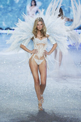 Model Toni Garrn presents a creation during the annual Victoria's Secret Fashion Show in New York