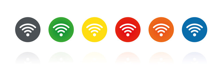 WLAN Symbol - Farbige Buttons
