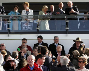 Britain's Prince Charles, Prince of Wales, and Camilla, Duchess of Cornwall, attend the Sligo Races at Sligo Racecourse during a visit to Ireland