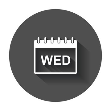 Wednesday calendar page pictogram icon. Simple flat pictogram for business, marketing, internet concept with long shadow.