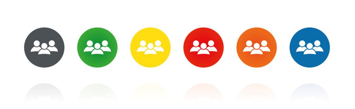 Gruppe - Soziales Netzwerk- Farbige Buttons