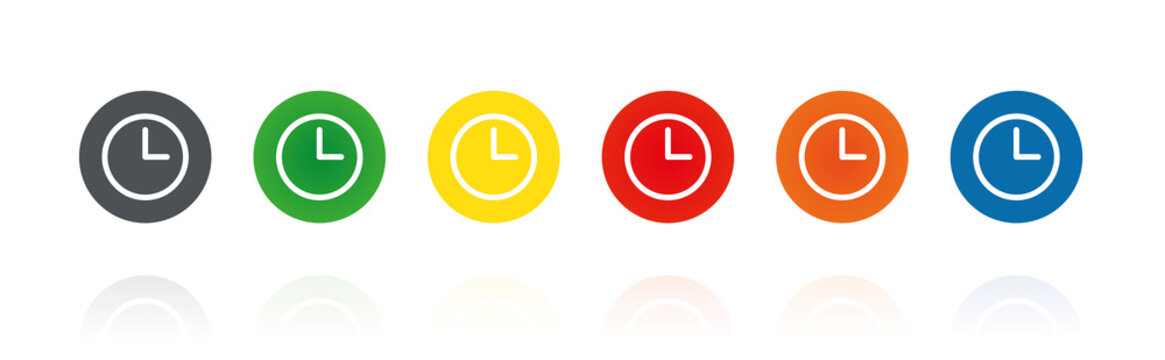 Uhr - Zeit - Farbige Buttons