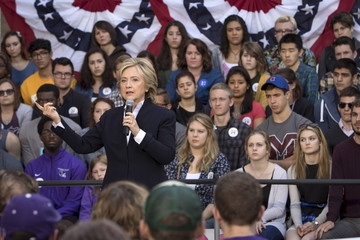 U.S. Democratic presidential candidate Hillary Clinton speaks during a community forum campaign event at Cornell College in Mt Vernon, Iowa