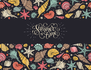 Summer time horizontal banner. Hand drawn sea shells and stars collection. Marine illustration of ocean shellfish. Colorful seashells border isolated on dark background.