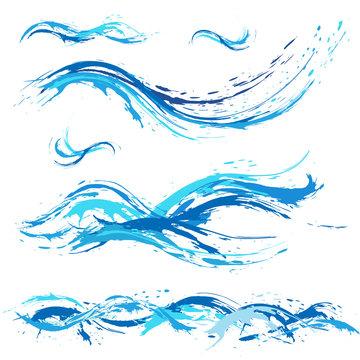 Sea and ocean waves, blue  paint blot, splashes, drops