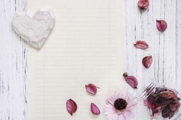 Flat lay stock photography purple flower petals glass bottle heart wood craft
