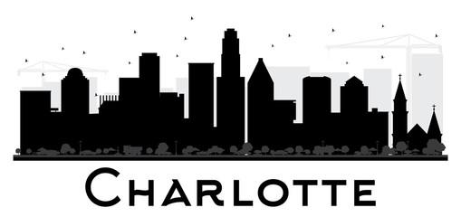 Charlotte City skyline black and white silhouette.