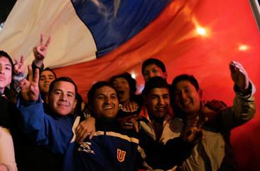 Chile fans celebrate results of Copa America soccer tournament in Santiago