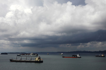 Cargo boats are seen on the Atlantic side of the Panama Canal on the outskirts of Colon City