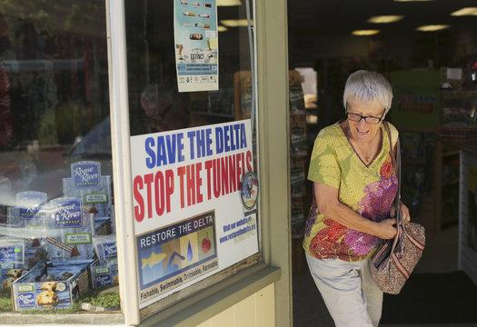 A sign is seen at a store along Main Street in the Sacramento San Joaquin River Delta town of Rio Vista, California